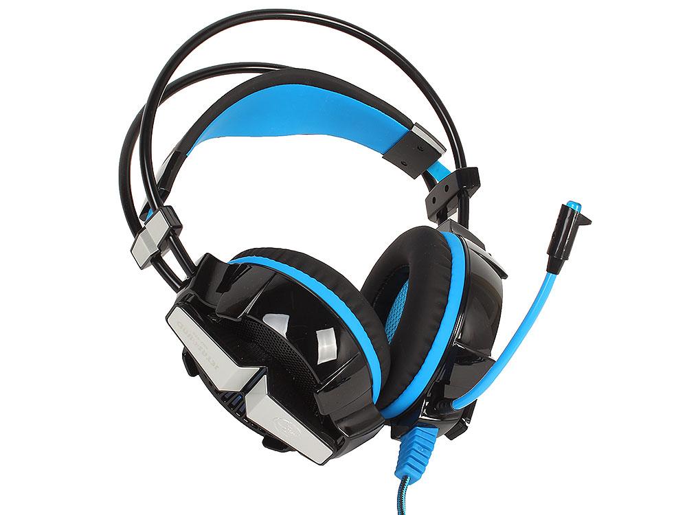 стереогарнитура Jet.A GHP-400 чёрно-синяя Проводные / Полноразмерные с микрофоном / Черный-синий / 20 Гц - 20 кГц / 112 дБ / Одностороннее / Mini-jack / USB гарнитура oklick hs g300 проводные полноразмерные с микрофоном черный красный 20 гц 20 кгц 56 дб одностороннее mini jack 3 5 мм