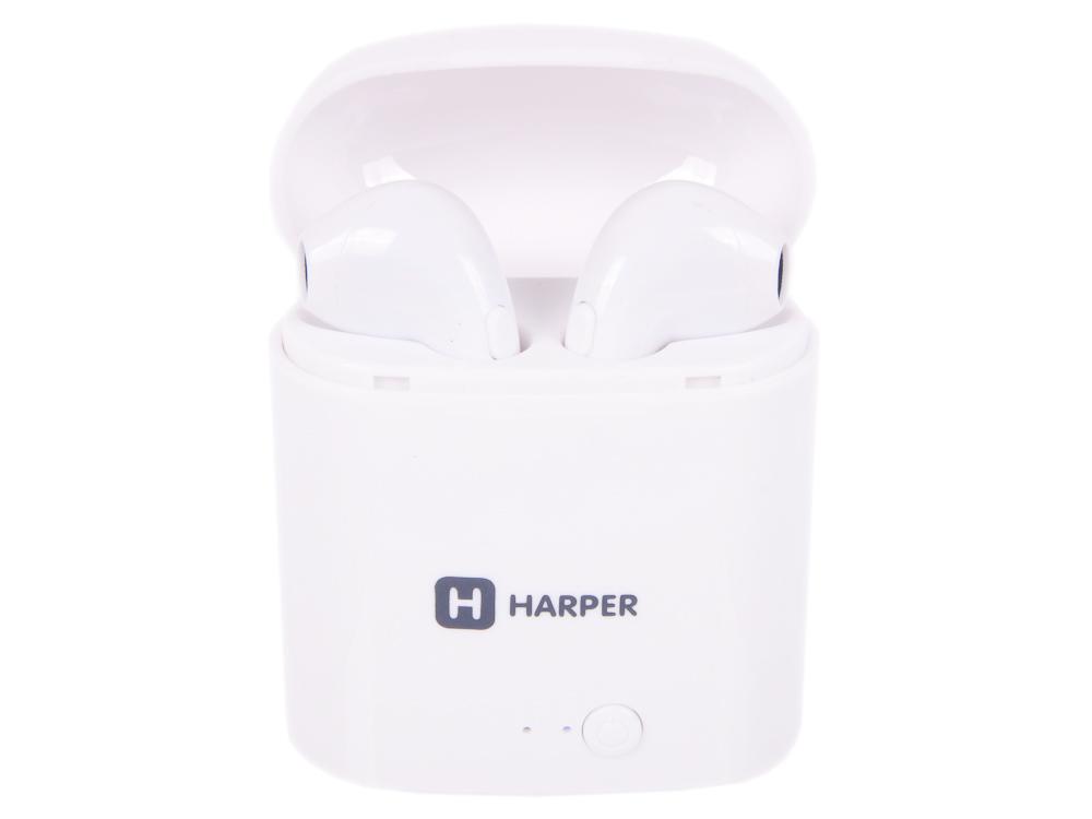 Наушники (гарнитура) HARPER HB-508 White Беспроводные / Внутриканальные с микрофоном / Белые / 20 Гц - 20 кГц / до 3 ч / Bluetooth, Micro-USB наушники harper hb 303 беспроводные внутриканальные с микрофоном белые 20 гц 20 кгц двухстороннее