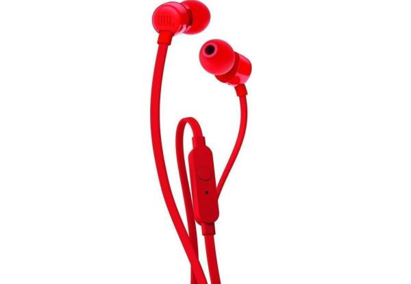 Наушники (Гарнитура) JBL T110, красная Проводные / Внутриканальные с микрофоном / Красный / 20 Гц - 20 кГц / 100 дБ / Двухстороннее / Mini-jack / 3.5 мм наушники гарнитура audio technica ath ar1isrd проводные накладные с микрофоном красный 5 гц 30 кгц 103 дб двухстороннее mini jack 3 5 мм