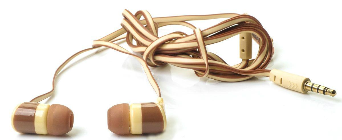 Наушники (гарнитура) Harper KIDS H-34 Brown Проводные / Внутриканальные с микрофоном / Коричневые / 20 Гц - 20 кГц / Двухстороннее / Mini-jack / 3.5 мм гарнитура