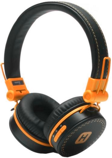 Наушники (гарнитура) HARPER HB-202 Orange Беспроводные, проводные / Накладные с микрофоном / Черный / 20 Гц - 20 кГц / Одностороннее / Bluetooth, Mini-jack / 3.5 мм наушники гарнитура qcyber swap black проводные накладные с микрофоном черный 20 гц 20 кгц 100 дб usb