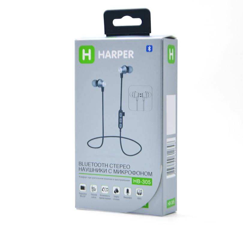 Наушники (гарнитура) HARPER HB-305 Black Беспроводные / Внутриканальные с микрофоном / Черный / 20 Гц - 20 кГц / Bluetooth, Micro-USB