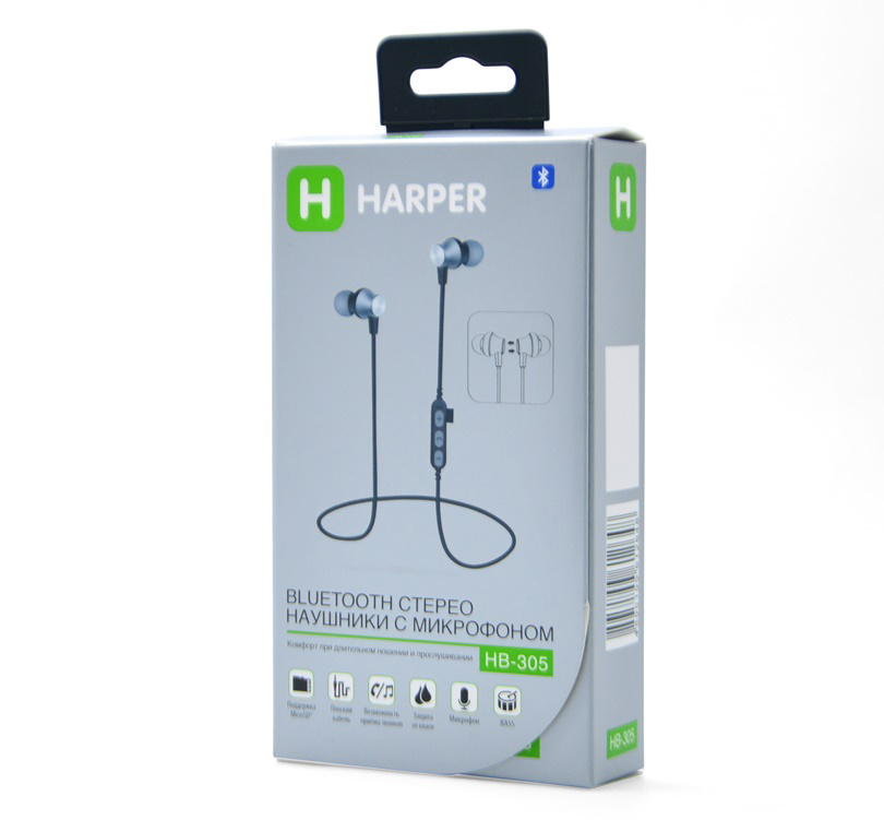 Наушники (гарнитура) HARPER HB-305 Silver Беспроводные / Внутриканальные с микрофоном / Серебристый / 20 Гц - 20 кГц / Двухстороннее / Bluetooth, Micro-USB