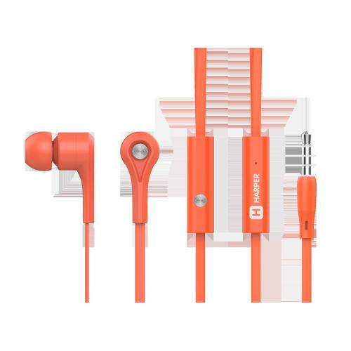 Наушники HARPER HV-402 / Проводные / Внутриканальные с микрофоном / Оранжевые / 20 Гц - 20 кГц / 103 дБ / Двухстороннее / Mini-jack / 3.5 гарнитура harper hv 501 grey металлический корпус проводные внутриканальные с микрофоном серый 20 гц 20 кгц 96 дб двухстороннее mini j