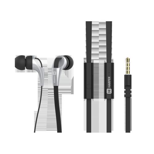 Наушники HARPER HV-404 / Проводные / Внутриканальные с микрофоном / Черный / 20 Гц - 20 кГц / 103 дБ / Двухстороннее / Mini-jack / 3.5 мм наушники philips she3555bk 00 черный проводные внутриканальные с микрофоном черный 10 гц 22 кгц 103 дб двухстороннее mini jack 3 5 мм