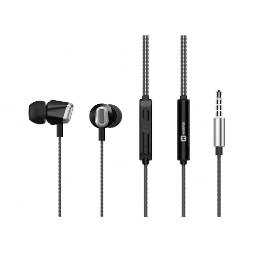 Наушники HARPER HV-406 / Проводные / Внутриканальные / Черный / 20 Гц - 20 кГц / 103 дБ / Двухстороннее / Mini-jack / 3.5 мм наушники perfeo gear черный pf ger blk проводные внутриканальные черный 20 гц 20 кгц 100 дб двухстороннее mini jack 3 5 мм