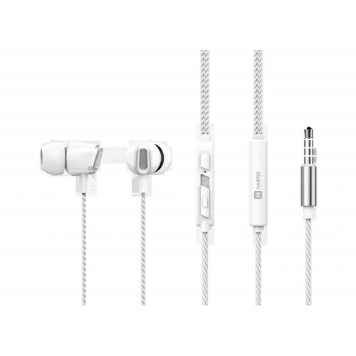 Наушники HARPER HV-406 / Проводные / Внутриканальные с микрофоном / Белый / 20 Гц - 20 кГц / 103 дБ / Двухстороннее / Mini-jack / 3.5 мм гарнитура harper hv 501 grey металлический корпус проводные внутриканальные с микрофоном серый 20 гц 20 кгц 96 дб двухстороннее mini j