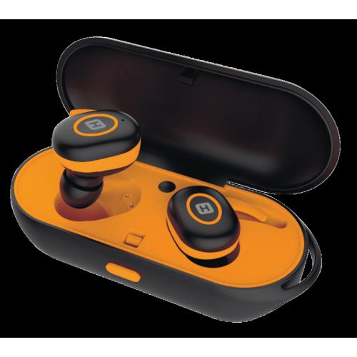 Наушники HARPER HB-510 / Беспроводные / Внутриканальные с микрофоном / Черный-оранжевый / 20 Гц - 20 кГц / Bluetooth, Micro-USB цена и фото