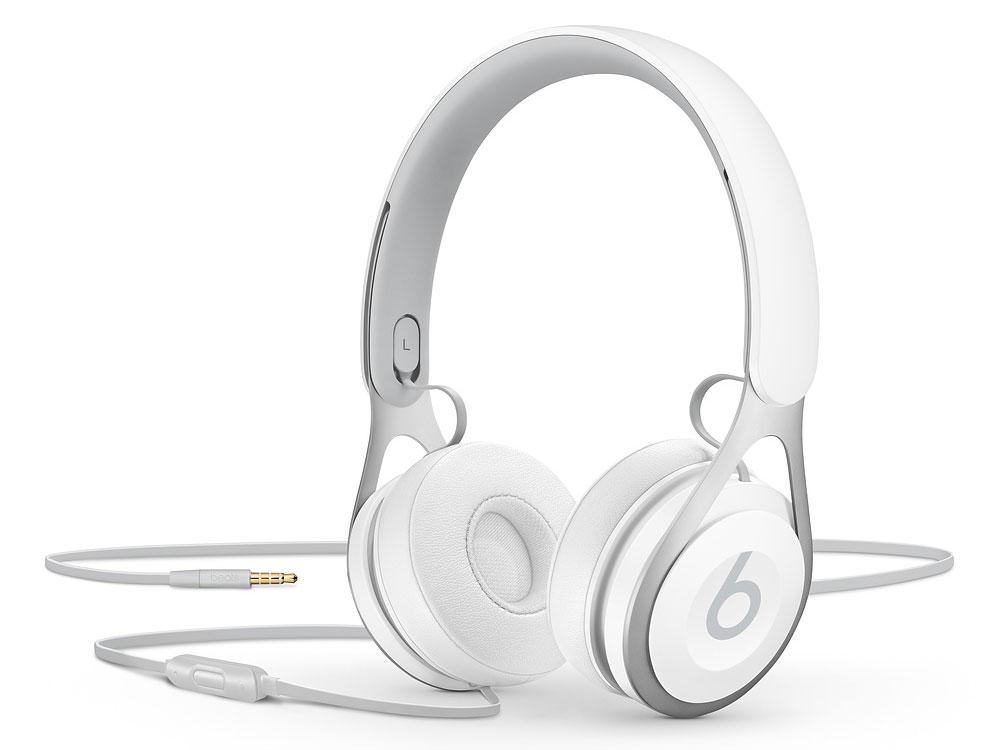 Наушники (гарнитура) Beats EP 1.6м Проводные / Накладные / Белый / Одностороннее / Mini-jack / 3.5 мм гарнитура jbl jble35wht накладные белый проводные