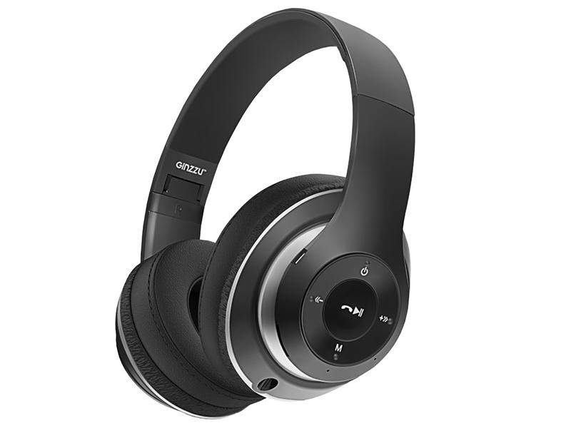 Bluetooth гарнитура Ginzzu GM-451BT Black Беспроводные / Полноразмерные с микрофоном / 20 - 20 000 Гц / 110 дБ / Одностороннее / BlueTooth / miniJack 3.5 мм
