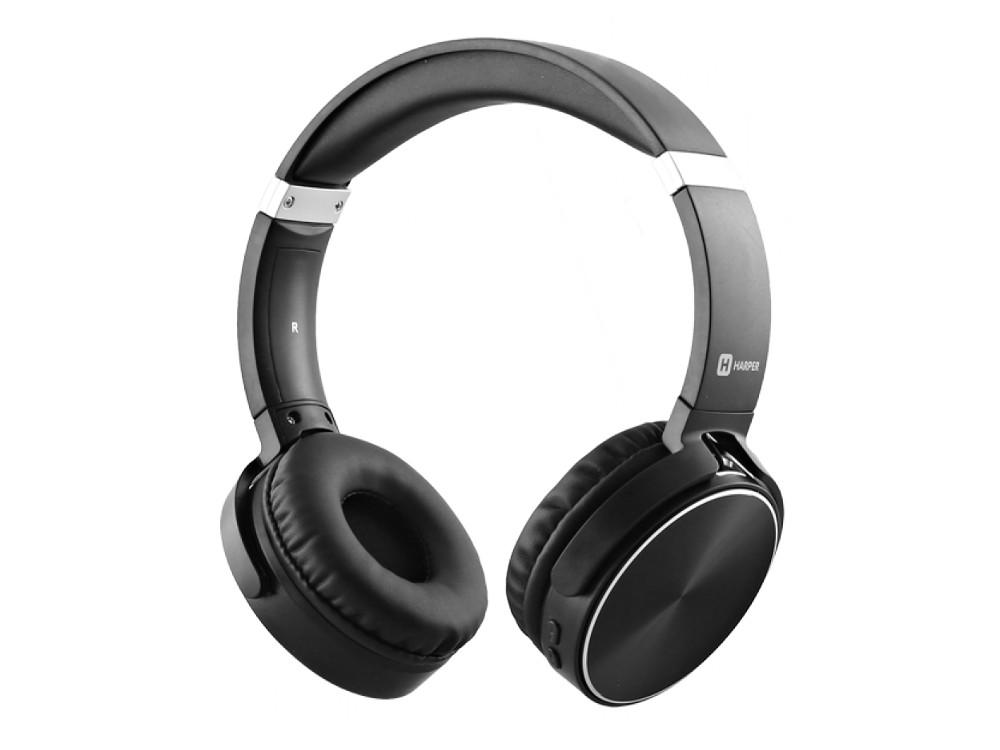 Наушники HARPER HB-217 / Беспроводные / Накладные с микрофоном / Черные / 20 Гц - 20 кГц / Bluetooth гарнитура harper hb 407 накладные белый беспроводные bluetooth