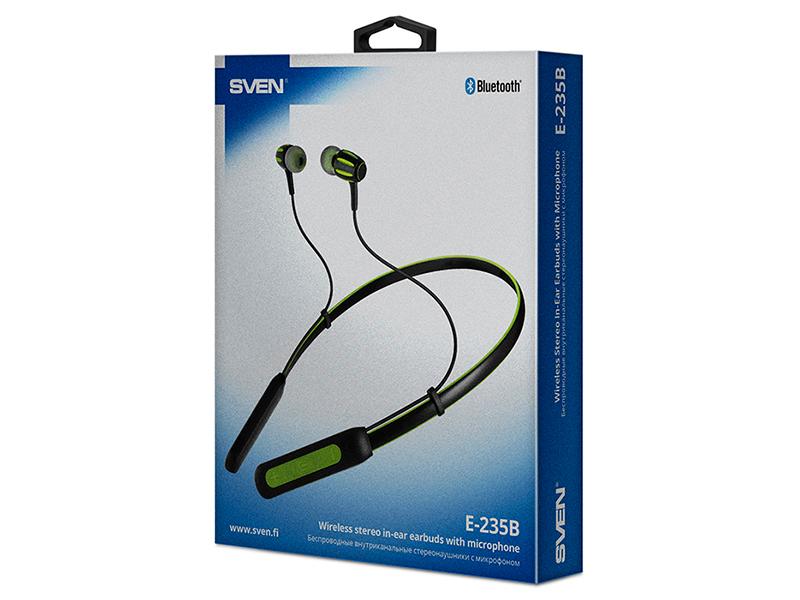 Bluetooth гарнитура Sven E-235B Black/Green Беспроводные / Внутриканальные с микрофоном / 20 — 20 000 Гц / 103 дБ / BlueTooth стоимость