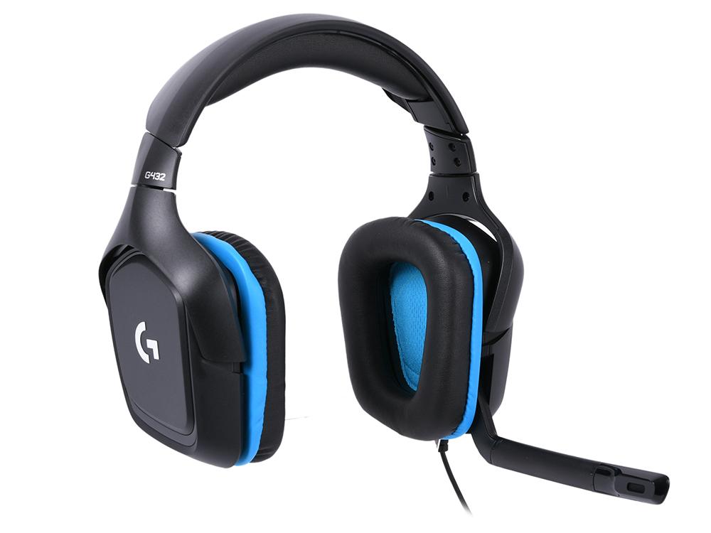 Наушники (гарнитура) G432 7.1 Surround Sound Wired Gaming Headset 981-000770 Проводные / Полноразмерные с микрофоном / Черный-синий / 20 Гц - 20 кГц / 107 дБ / Одностороннее / Mini-jack 3.5 мм наушники perfeo commas pf cms grn проводные внутриканальные зеленый 20 гц 20 кгц 95 дб двухстороннее mini jack 3 5 мм