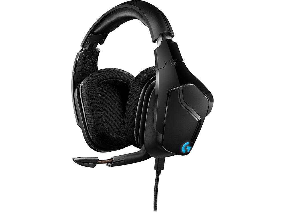 Наушники (гарнитура) Logitech 7.1 Surround Sound LIGHTSYNC Wired Gaming Headset G635 981-000750 Проводные / Полноразмерные с микрофоном / Черный / 20 Гц - 20 кГц / 93 дБ / Одностороннее / Mini-jack 3. 981 000687 гарнитура logitech 7 1 surround gaming headset g433 royal blue
