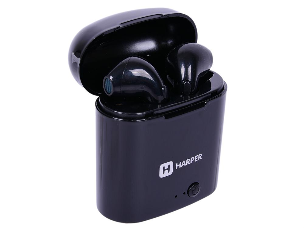 Наушники (гарнитура) HARPER HB-508 Black Беспроводные / Внутриканальные с микрофоном / Черный глянец / 20 Гц - 20 кГц / Двухстороннее