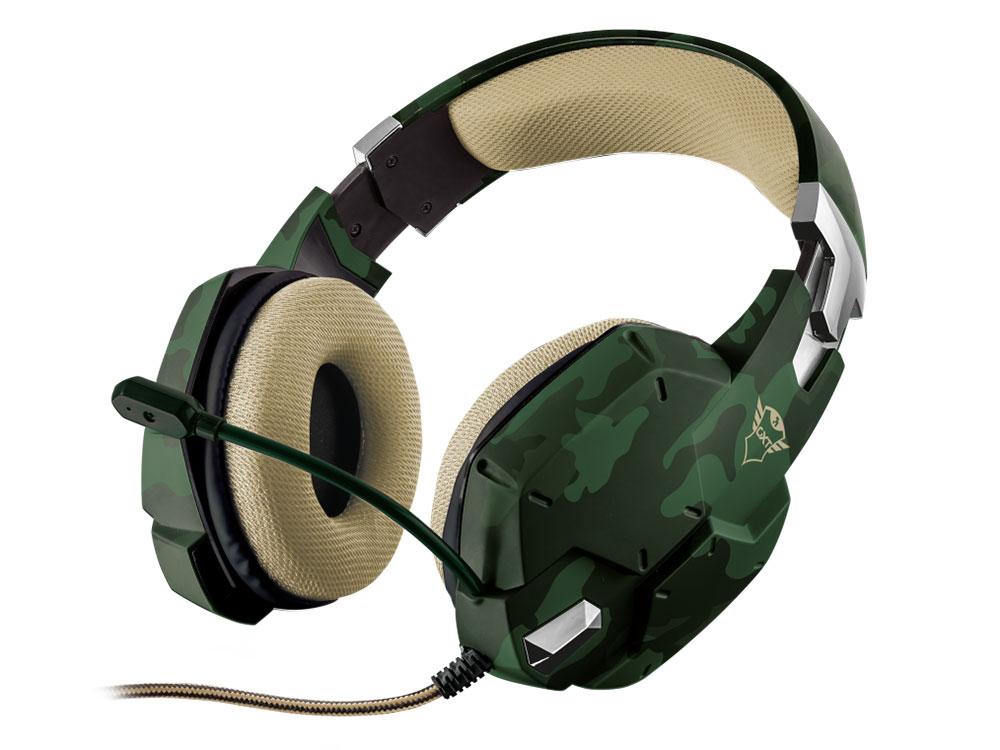 Гарнитура Trust GXT 322C Carus Jungle camo Проводные / Полноразмерные с микрофоном / 20 - 20000 Гц / 112 дБ / Одностороннее / miniJack 3.5 мм