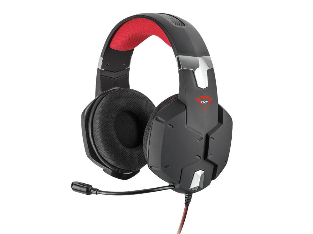 Гарнитура Trust GXT 322 Carus Black/Red Проводные / Полноразмерные с микрофоном 20 - 20000 Гц 112 дБ Одностороннее miniJack 3.5 мм