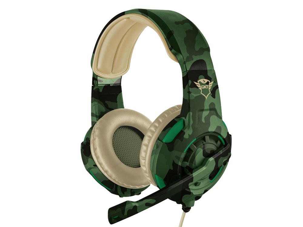 Гарнитура Trust GXT 310C Radius Green camo Проводные / Полноразмерные с микрофоном / 20 - 20000 Гц / 108 дБ / Одностороннее / miniJack 3.5 мм