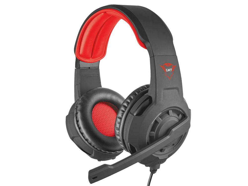 Гарнитура Trust GXT 310 Black/Red Проводные / Полноразмерные с микрофоном / 20 - 20000 Гц / 108 дБ / Одностороннее / miniJack 3.5 мм гарнитура qcyber roof black red звук 7 1 2 2m usb