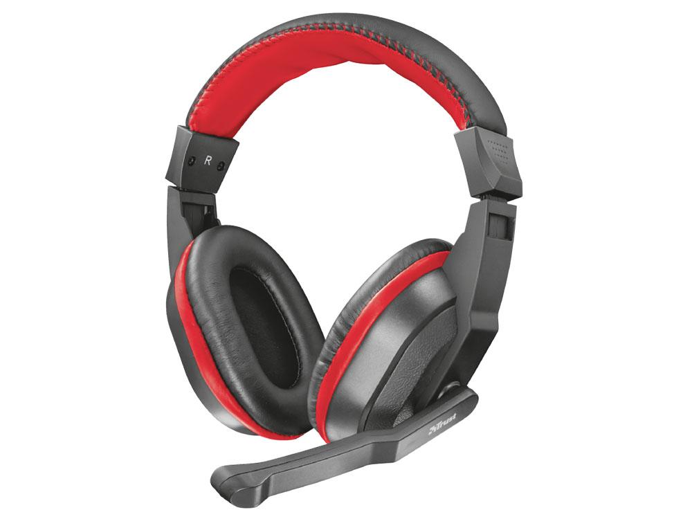 Гарнитура Trust Ziva Gaming Black/Red Проводные / Полноразмерные с микрофоном / 20 - 20000 Гц / 105 дБ / miniJack 3.5 мм (4 pin) гарнитура qcyber roof black red звук 7 1 2 2m usb