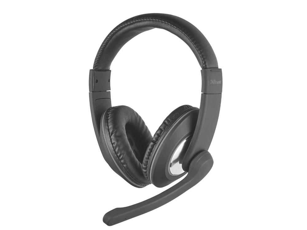 Гарнитура Trust Reno Black Проводные / Полноразмерные с микрофоном 50 - 20000 Гц 105 дБ Одностороннее miniJack 3.5 мм