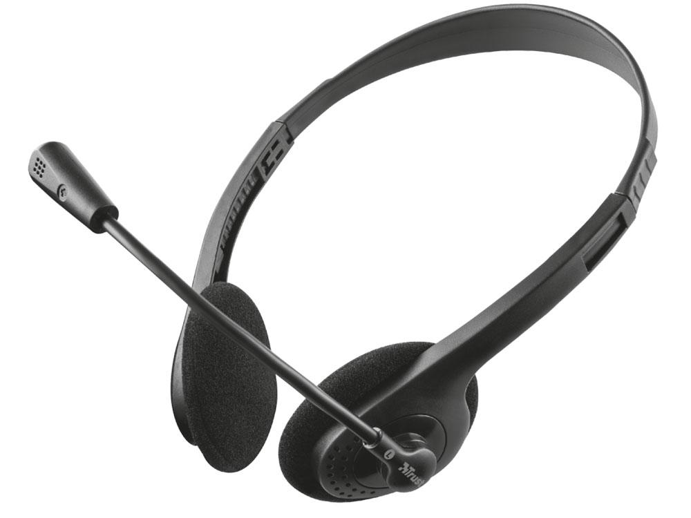 Гарнитура Trust Primo Black Проводные / Накладные с микрофоном 20 - 20000 Гц 108 дБ Одностороннее USB