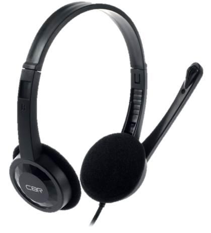 Гарнитура CBR CHP 313M черная (микрофон, накладные наушники, 2 x mini-jack 3.5 mm, регулировка оголовья,1,5м)