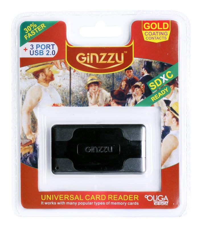 Картридер Ginzzu GR-417UB Black планшет ginzzu gt 7210