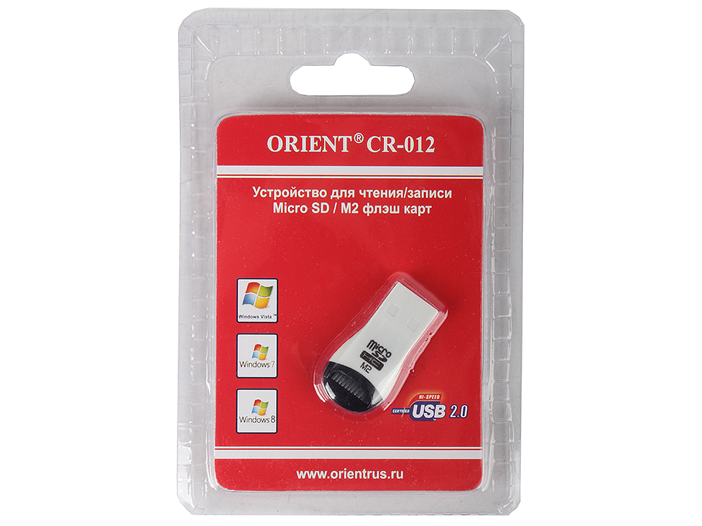 Картридер ORIENT Mini CR-012 (Micro SD, M2) Black/Red картридер photofast cr 8800w white