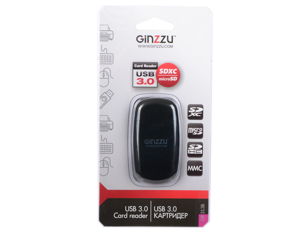 Картридер Ginzzu GR-313B с интерфейсом USB 3.0, SD/SDXC/SDHC/MMC и microSD, черный картридер ginzzu ext gr 564ub gr 564ub