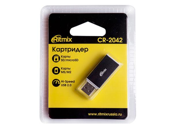 Картридер RITMIX CR-2042 black, SD/microSD, поддерживает SD, microSD, MS, M2 карты памяти, Plug-n-Play, питание от USB, 5В, скорость, до 480 Мбит/с картридер ritmix cr 3021 black usb 3 0 поддерживает sd microsd карт памяти plug n play питание от usb 5в скорость до 5 гбит с