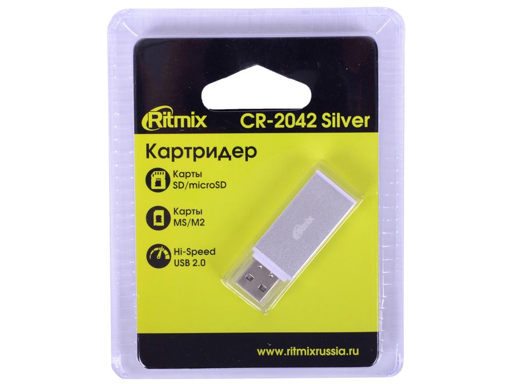 Фото - Картридер RITMIX CR-2042 silver, SD/microSD, поддерживает SD, microSD, MS, M2 карты памяти, Plug-n-Play, питание от USB, 5В, скорость, до 480 Мбит/с n° 21 платье до колена