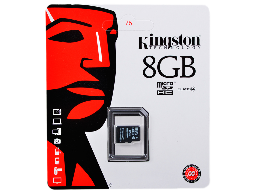 Карта памяти MicroSDHC 8GB Kingston Class4 Без адаптера (SDC4/8GBSP)