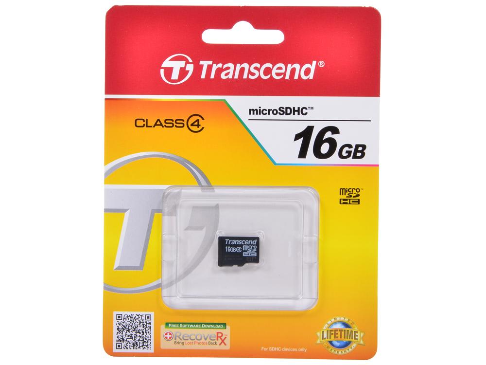 Карта памяти MicroSDHC 16GB Transcend TS16GUSDC4 Class4 Без адаптера
