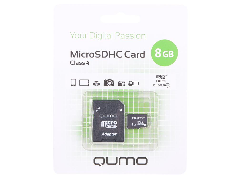 Карта памяти Micro SDHC 8Gb class 4 QUMO QM8GMICSDHC4 + SD adapter