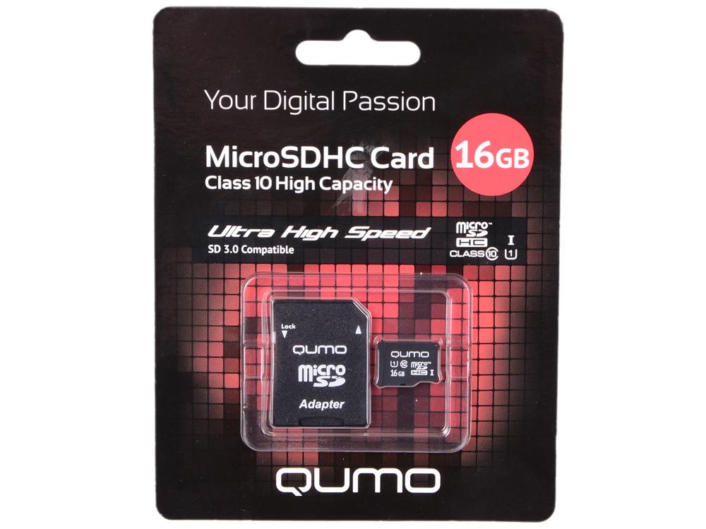 Карта памяти Micro SDHC 16Gb class 10 UHS-I QUMO QM16GMICSDHC10U1 + SD adapter карта памяти micro sdhc 16gb sandisk ultra uhs i