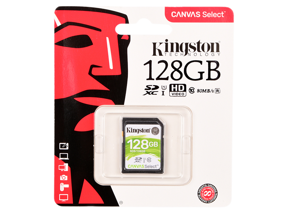 Карта памяти SDXC 128GB Class 10 Kingston SDS/128GB карта памяти sdxc 128gb class 10 kingston sd10vg2 128gb