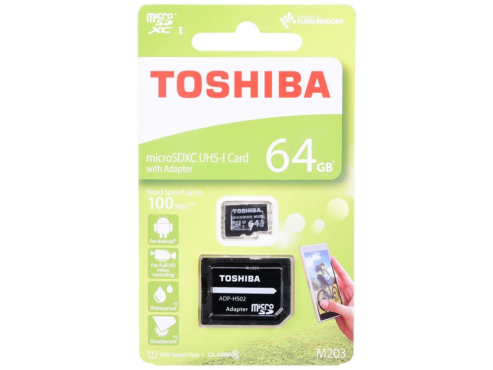 Карта памяти microSDXC 64Gb Class10 Toshiba THN-M203K0640EA M203 + adapter фото