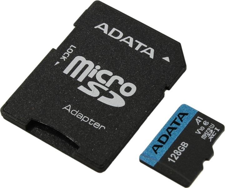 цена на Карта памяти 128GB ADATA Premier A1 MicroSDHC UHS-I Class 10 85/25 MB/s с адаптером