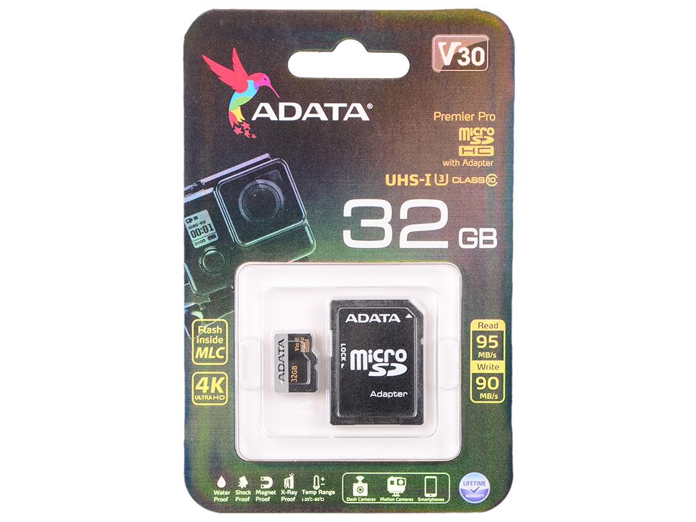 Карта памяти ADATA Premier Pro microSDXC 32GB UHS- U3 Class 10(V30G) 95 / 90 (MB/) с адаптером