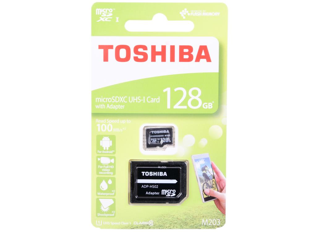 Флеш карта microSDXC 128Gb Class10 Toshiba THN-M203K1280EA M203 + adapter