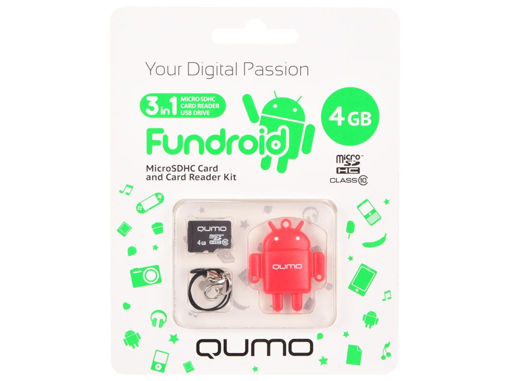 цена на Карта памяти Micro SDHS 4GB class 10 Qumo + USB картридер FUNDROID красный