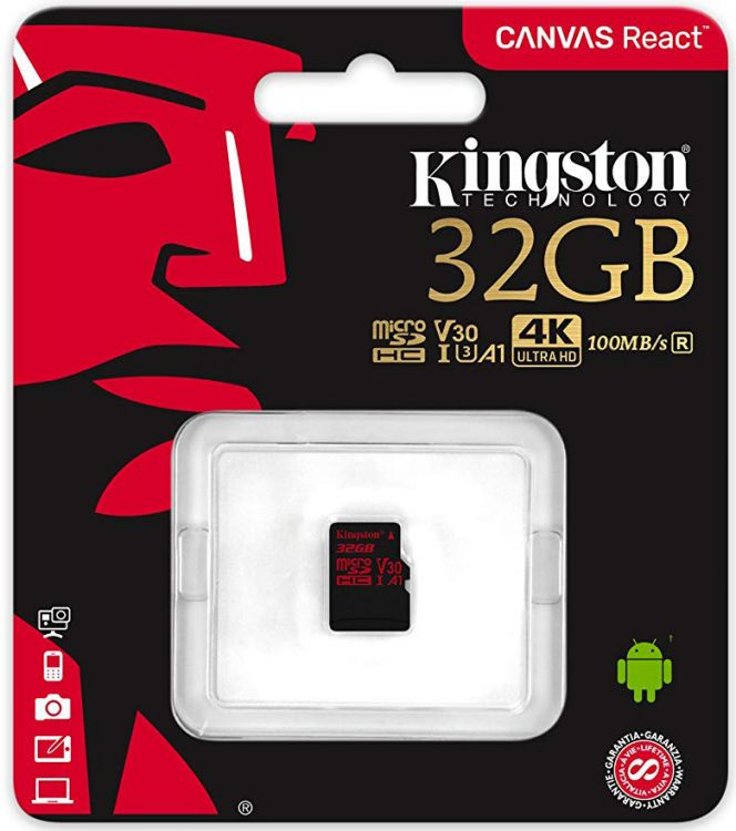 Карта памяти MicroSDHC 32GB Kingston Class10 Canvas React (SDCR/32GBSP) kingston sdc10g2 32gb microsdhc 32gb class10