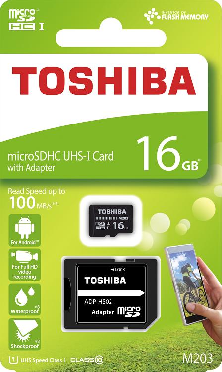 Карта памяти MicroSDHC 16GB Toshiba Class 10 M203 + adapter (THN-M203K0160EA)