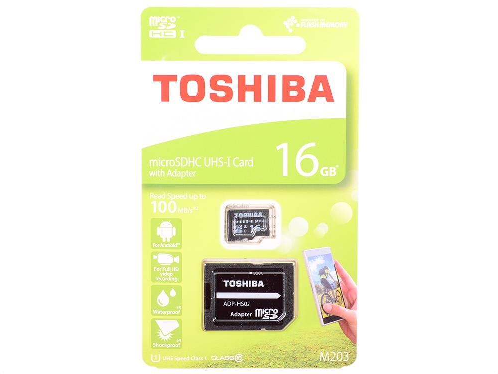 Карта памяти MicroSDHC 16GB Toshiba Class 10 M203 + adapter (THN-M203K0160EA) карта памяти microsdhc mirex 16gb class 10 с адаптером black