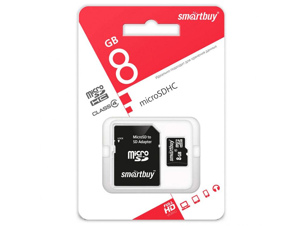Карта памяти Micro SDHC 8GB Smartbuy Сlass 4 (с адаптером SD) карта памяти sdhc 8gb transcend class4