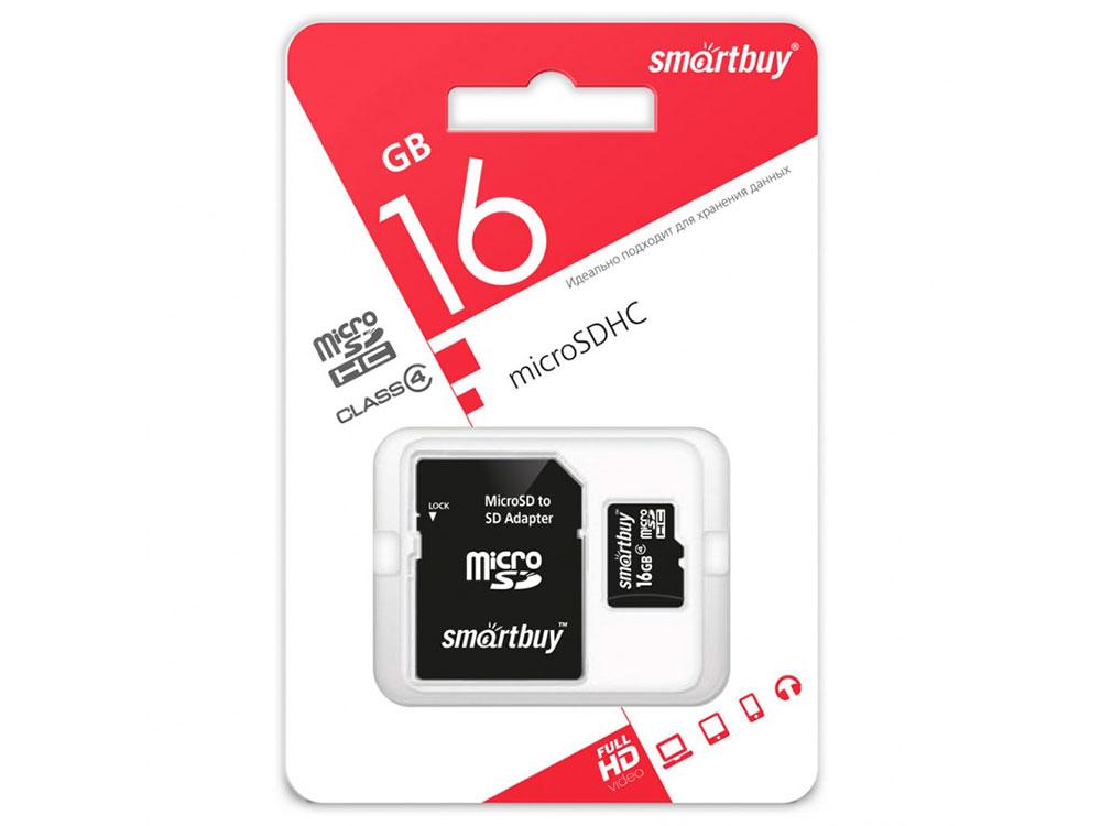 Карта памяти Micro SDHC 16GB Smartbuy Сlass 4 (с адаптером SD) форматирование micro sd