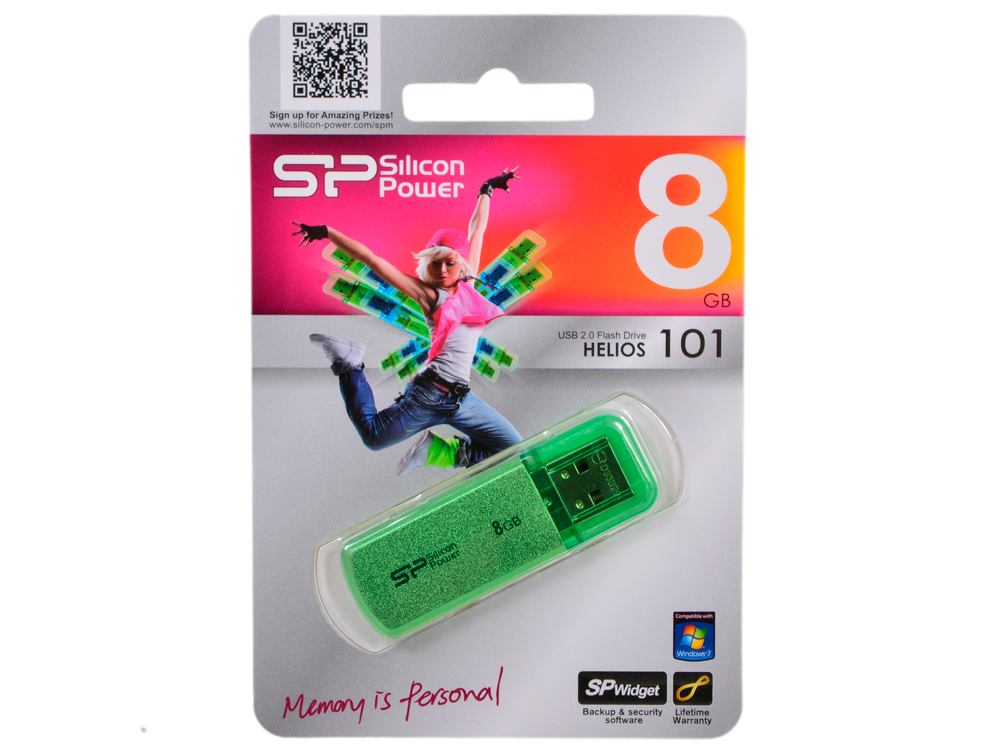 USB флешка Silicon Power Helios 101 Green 8GB (SP008GBUF2101V1N) флешка silicon power 200x professional compact flash card 2gb