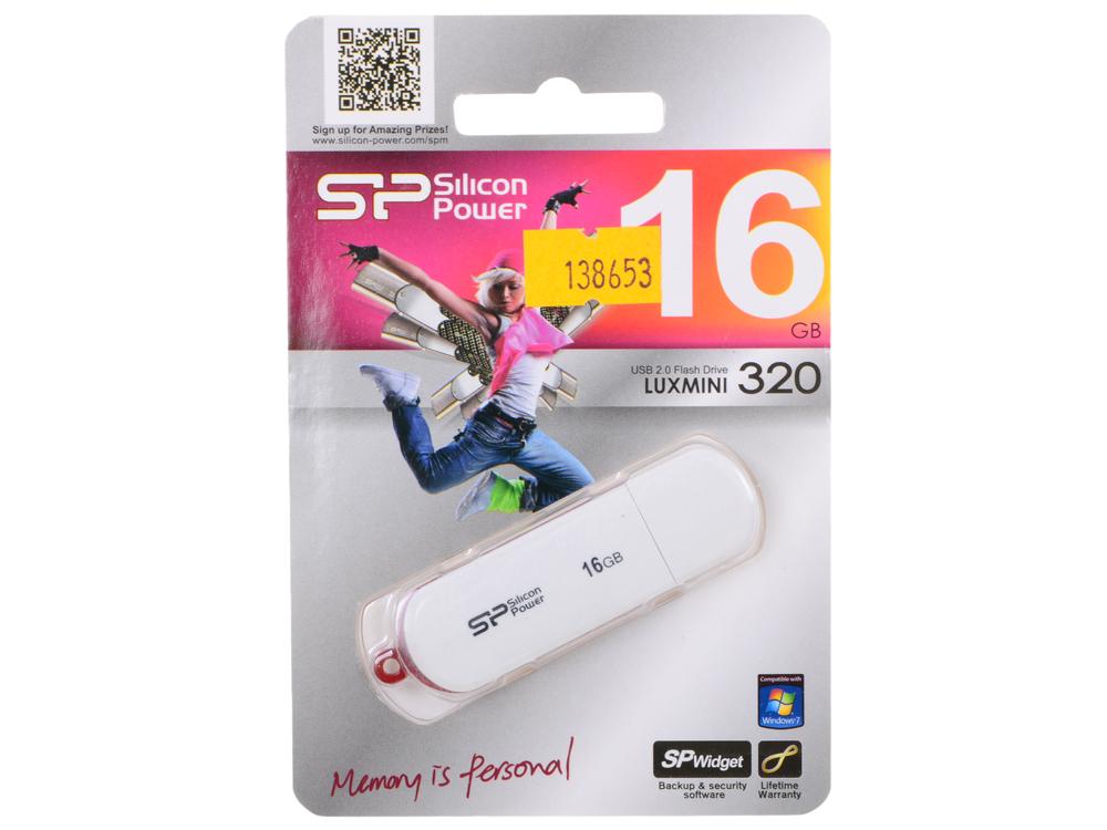 USB флешка Silicon Power LuxMini 320 16Gb White (SP016GBUF2320V1W) USB 2.0 / 10 Мб/с / 5 Мб/с usb флешка mirex elf 8gb blue 13600 fmuble08 usb 2 0 16 мб с 8 мб с