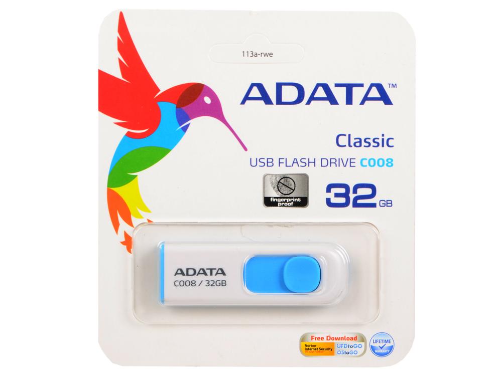 Картинка для Внешний накопитель 32GB USB Drive (USB 2.0) A-data C008 White Blue